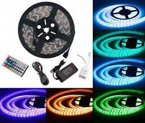 LED ruban Bande LED Lumineuse - Duractron Ruban à LED Etanche (5m) 5050 RGB SMD Multicolore 300 LEDs 60W, avec Télécommande à Infrarouge 44 Touches et Alimentation 5A 12V de la marque Duractron image 0 produit