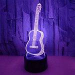 LED Veilleuse 3D Lampe Illusion Optique Guitare D'halloween 7 Couleurs Changement Tactile Interrupteur Lumière De Nuit Art Déco Faites Une Ambiance Romantique Dans La Chambre Chambre D'enfants Avec Câble USB de la marque YUN Night Light@ image 3 produit