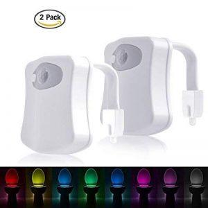 LEDGLE Lumière de nuit de toilette Lumières de toilette d'induction automatique, 8 couleurs, capteur activé par lumière, capteur infrarouge de la marque Ledgle image 0 produit
