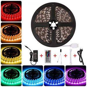 LEDMO 5m RGB Ruban LED KIT Multicolore Bande LED flexible Lumineux 5050 RVB Ruban LED la clé IR 44 et le contre-jour d'alimentation d'énergie de 12V 5A a mené la lumière de corde 300LEDs 16.4feet / 5m bande led non-imperméable menée, pour la décoration me image 0 produit
