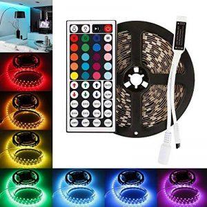 LEDMO RGB Ruban LED de lumière et IR 44 télécommande,DC 12V Super Bright 5m 5m Ruban LED 5050-300LEDs, lumière de bande LED RGB TV ruban LED, lumière de bande de LED, lumière flexible Non Etanche pour la lumière de décoration intérieure, partie, lumière d image 0 produit