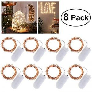 LEDMOMO 8 Unités Guirlande Lumineuse LED 6.6ft/2M Avec 20 micro LED par 2 x CR2032 (Compris) Blanc chaud de la marque LEDMOMO image 0 produit