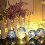 LEDMOMO Lumières de fée de ficelle de boule de coton de 2.3M 20 LED pour la décoration de maison de partie de jardin (bleu chaud blanc) … de la marque LEDMOMO image 3 produit