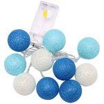 LEDMOMO Lumières de fée de ficelle de boule de coton de 2.3M 20 LED pour la décoration de maison de partie de jardin (bleu chaud blanc) … de la marque LEDMOMO image 1 produit