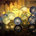 LEDMOMO Lumières de fée de ficelle de boule de coton de 2.3M 20 LED pour la décoration de maison de partie de jardin (bleu chaud blanc) … de la marque LEDMOMO image 2 produit