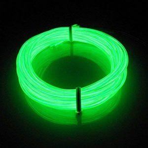 Lerway 5M multicolores Luminous EL Wire électroluminescence fil EL Neon Câble Lumière LED Glowing Éclairage Lampe flexible + Boîte de contrôleur, pour chambre à coucher de décoration Home Kitchen Garden, Café Restaurant, Party Bar Club vert clair de la m image 0 produit