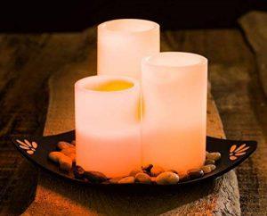 levandeo Lot de 3Bougies LED en Cire véritable–Lumière vacillante Lot de Bougies avec déco Bougies en Blanc–Lumière Bougie Lumière LED lumière décoration de Table LED de la marque levandeo image 0 produit
