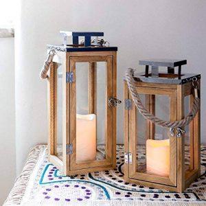 Lights4fun Grande Lanterne en Bois avec Bougie LED à Piles et Anse en Corde, 34cm de la marque Lights4fun image 0 produit