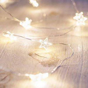 Lights4fun Guirlande Lumineuse Etoiles avec 40 Micro LED Blanc Chaud sur Fil Argenté à Piles de la marque Lights4fun image 0 produit