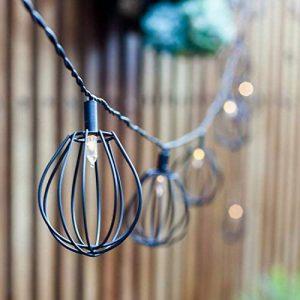 Lights4fun Guirlande Lumineuse LED Solaire 10 Lanternes Cages en Métal Noir Style Industriel de la marque Lights4fun image 0 produit