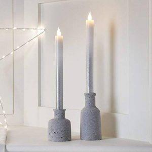Lights4fun Lot de 2 Bougies de Chandelier LED en Cire Argentée Effet Ombré à Piles de la marque Lights4fun image 0 produit