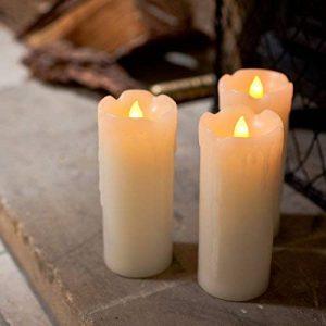 Lights4fun Lot de 3 Bougies Fines LED à Piles en Cire Véritable avec Effet Fondu de la marque Lights4fun image 0 produit