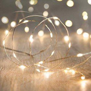 Lights4fun Lot de 5 x Guirlandes Lumineuses à Piles avec 20 Micro LED Blanc Chaud sur Câble Argenté de la marque Lights4fun image 0 produit