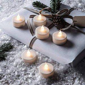 Lights4fun Lot de 6 Bougies Chauffe-Plat à Paillettes Blanches avec Flamme LED Vacillante à Piles de la marque Lights4fun image 0 produit