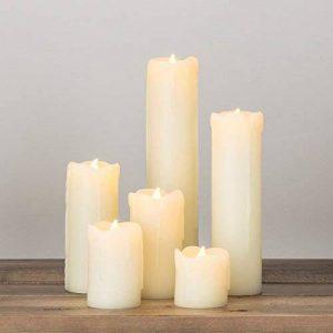 Lights4fun Lot de 6 Bougies Cierges LED à Piles en Cire Véritable Effet Fondu de la marque Lights4fun image 0 produit