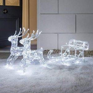 Lights4fun Rennes Lumineux LED de Noël avec Traineau pour Intérieur ou Extérieur par de la marque Lights4fun image 0 produit