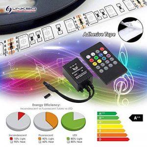 LinkSquare (1m / 2m / 3m / 4m / 5m) 5050 12V IP65 Bande de RVB RGB SMD LED Éclairage + 20 Touches IR Télécommande & Musique Du Son Capteur Contrôleur de la marque LinkSquare image 0 produit