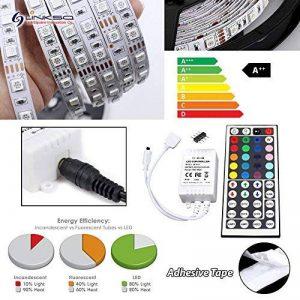 LinkSquare (1m / 2m / 3m / 4m / 5m) Multicolore 5050 (60LEDs/m) CC 12V Non Étanche IP20 Flexible Souple Auto-Adhésif Autocollant Bande de RVB (RGB) SMD LED Lampe Lumière Rubans de Fées Éclairage avec 44 Key Clé Touches IR Télécommande Sans Fil et CC12V 6A image 0 produit