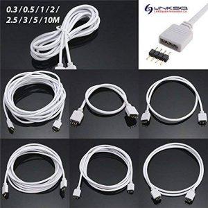 LinkSquare (30cm / 50cm / 1m / 2m / 2,5m / 3m / 5m / 10m) 4 Broches fiche Cordon de fil d'Extension du Câble adaptateur de rallonge Connecteur d'angle pour Bande de 5050 3528 RVB (RGB) SMD LED Rubans de Lampe Lumière Éclairage de fées souple (10m) de la m image 0 produit