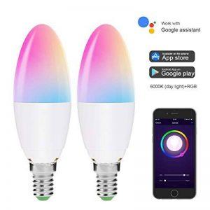 lohas Wifi Smart ampoule E14, fonctionne avec Alexa, Google Home et ifttt, 5W = 40W E14bougie ampoules, SUPERBE Blanc Jour 6000K + Merveilleux RGB avec changement de couleur lampe LED, Idéal pour cuisine, Motif de chambre, Salon,–lot de 2 de la mar image 0 produit