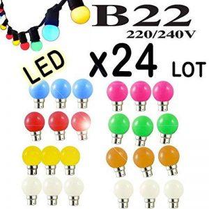Lot 24x Ampoules Led B22 1W Guirlande Rouge, Jaune, Verte, Orange, Rose, Bleu, Blanc Incassable (24x Rouge jaune vert bleu orange rose blanc) de la marque Revenergie image 0 produit