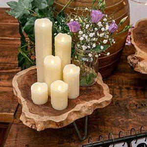 Lot 6 Bougies LED en Cire Véritable Type Pilier Éclairage Blanc Chaud Effet Vacillant Ultra Réaliste (Piles Incluses) de la marque Festive Lights image 0 produit
