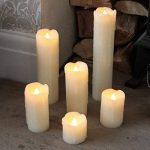 Lot 6 Bougies LED en Cire Véritable Type Pilier Éclairage Blanc Chaud Effet Vacillant Ultra Réaliste (Piles Incluses) de la marque Festive Lights image 1 produit