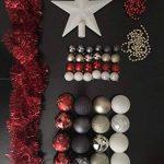 Lot déco Noël - Kit 44 pièces pour décoration sapin : Guirlandes, Boules et Cimier - Thème couleur : Blanc, Rouge, Or et Gris de la marque FEERIC LIGHTS & CHRISTMAS image 1 produit