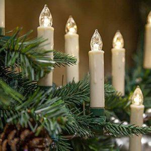 Lot de 10bougies LED Electronic Bougies Sapin de Noël lumières pour mariage Église Halloween Noël Fête d'anniversaire, Plastique, White Candle, Yellow Flame de la marque Winterworm image 0 produit