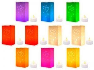 Lot de 10 sac à bougie multicolore + 10 Bougies à LED scintillante style 'chauffe-plat' incluses lueur de sol multicolores fête Sûres et propres, ambiance agréable pour évènements, mariages, Noël etc, choisir:Double coeur de la marque Alsino image 0 produit
