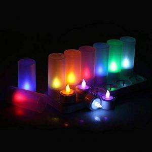 Lot de 12 Bougie Rechargeable LED Lumière sans Flamme Changement de Couleur avec Télécommande Multi-Couleur de la marque Littleboyshao image 0 produit