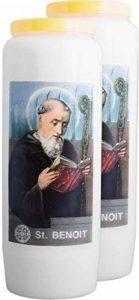 Lot de 2 Bougies Neuvaines - Saint Benoit, le protecteur - brûle 9 jours / 100% végétale de la marque Spaas image 0 produit