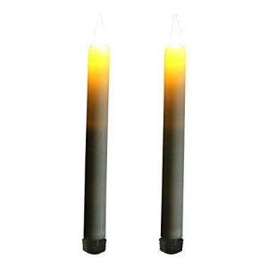 Lot de 2 Crème sans flamme rechargeable LED bougies coniques Ambre Flamme vacillante avec minuteur par PK Vert de la marque PK Green image 0 produit