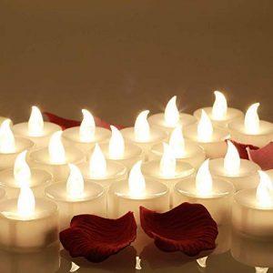 Lot de 24 Bougies LED, 60+ Heures D'éclairage, Décoré de Pétales de Rose, Blanc Chaud de la marque OMGAI image 0 produit