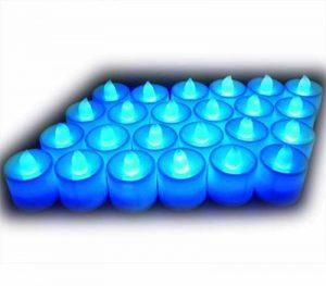 Lot de 24pcs Bougies LED à Piles sans Flamme, Réaliste et Bright, LED Lumières de Thé - Fausses Bougies électriques pour Votive, Table Party Anniversaire Mariage Bleu de la marque Little ants image 0 produit