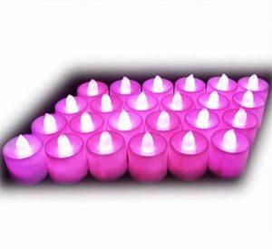 Lot de 24pcs Bougies LED à Piles sans Flamme, Réaliste et Bright, LED Lumières de Thé - Fausses Bougies électriques pour Votive, Table Party Anniversaire Mariage Rose de la marque Little ants image 0 produit