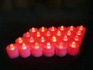 Lot de 24pcs Bougies LED à Piles sans Flamme, Réaliste et Bright, LED Lumières de Thé - Fausses Bougies électriques pour Votive, Table Party Anniversaire Mariage Rouge de la marque Little ants image 0 produit