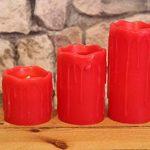 Lot de 3(= 3pièces) romantique lumière douce Bougies LED en cire véritable–en rouge–Set bougies de cire LED avec lumière vacillante–décoratifs et technologie LED basse consommation avec LED et interrupteur pour chaque un pratique Bougie–Bougie à image 4 produit
