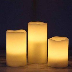Lot de 3 Bougies Cierges LED à Piles en Cire Véritable avec Minuteur, D7.5cm, H10/12.5/15cm (Ivoire) de la marque Rhytsing image 0 produit
