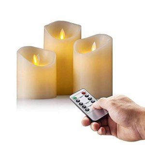 Lot de 3 bougies LED en cire véritable avec effet de flamme vacillante, fonctionnement à pile, télécommande 10touches et minuterie 24heures Hauteur env. 10/12/15cm Couleur ivoire de la marque JYD image 0 produit