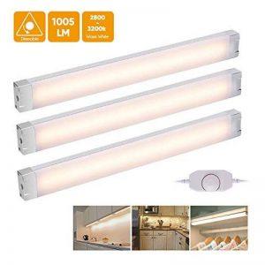 Lot de 3 - Lampe LED à intensité variable pour plan de travail/sous meuble de cuisine/armoire/placard - Accessoires inclus - 24 LED 12 W 1005 lumens 3200 K - Blanc chaud de la marque EECOO image 0 produit