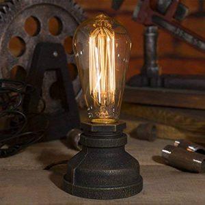 Luminaire Industriel Rétro Edison Lampe de Table E27 Douille en Métal Antique Lampe de Nuit Ambiance Décorative pour Restaurant Café Bars Atelier Salon Chambre - Noir ( Sans Ampoule ) de la marque AZX image 0 produit