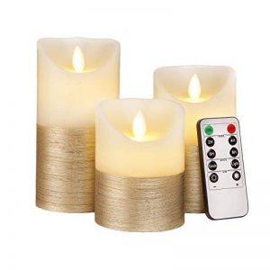 Luminicious Candles- sans flamme vacillante LED flamme. électrique à piles, télécommande et minuterie | Lot de 3bougies pilier en cire véritable (10,2cm 12,7cm 15,2cm) Idée cadeau 4_5_6 Ivory With Golden Trim de la marque Luminicious image 0 produit