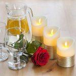 Luminicious Candles- sans flamme vacillante LED flamme. électrique à piles, télécommande et minuterie | Lot de 3bougies pilier en cire véritable (10,2cm 12,7cm 15,2cm) Idée cadeau 4_5_6 Ivory With Golden Trim de la marque Luminicious image 2 produit