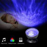 Lumière de Nuit Lampe de Projecteur, Footprintse Remote Control Ocean Wave Projector 4 Modes Sons et 7 couleurs Projection Rotative Contrôler par Télécommande pour chambre d'enfant bébé adultes Ambian (noir) de la marque Footprintse image 3 produit