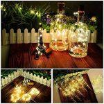 Lumières de bouteille de LED avec le liège 2M avec 20 lumières de ficelle de fil de cuivre de LED pour la bouteille DIY Decor, BBQ extérieur, rassemblement, partie, mariage, vacances (blanc chaud) (paquet de 10) de la marque iThird image 4 produit