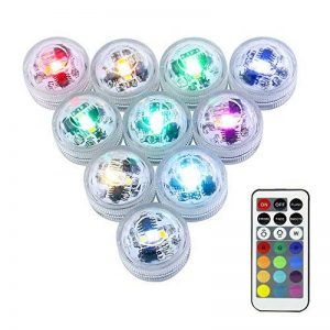LUXJET Lot de 10 Bougies Led,RGB Submersible Imperméable LED avec télécommande Multi-Coleur/Unicolore pour mariage, Fête, Anniversaire, Piscine de la marque LUXJET image 0 produit
