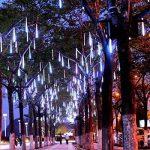 Minger 30cm 8 Tubes 144 LEDs Lumineux Etanche LED Météore Guirlandes Lumineuses Extérieur Douche Pluie Feux pour Mariage Fête Noël Soirée Maison Arbre Sapin Jardin, Blanc de la marque Minger image 3 produit