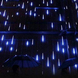 Minger Guirlandes Lumineuses 30cm 8 Tubes 144 LEDs Lumineux Etanche LED Météore Lumière Extérieur Douche Pluie Feux pour Mariage Fête Noël Soirée Maison Arbre Sapin Jardin, Bleu de la marque Minger image 0 produit