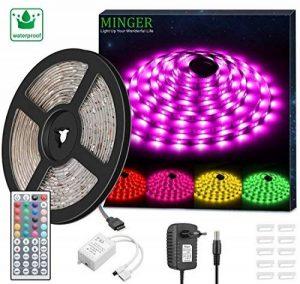 Minger Kit de Ruban à LED Etanche 5M 5050 RGB SMD Multicolore Bande LED Lumineuse avec Télécommande à Infrarouge 44 Touches et Alimentation 3A 12V de la marque Minger image 0 produit